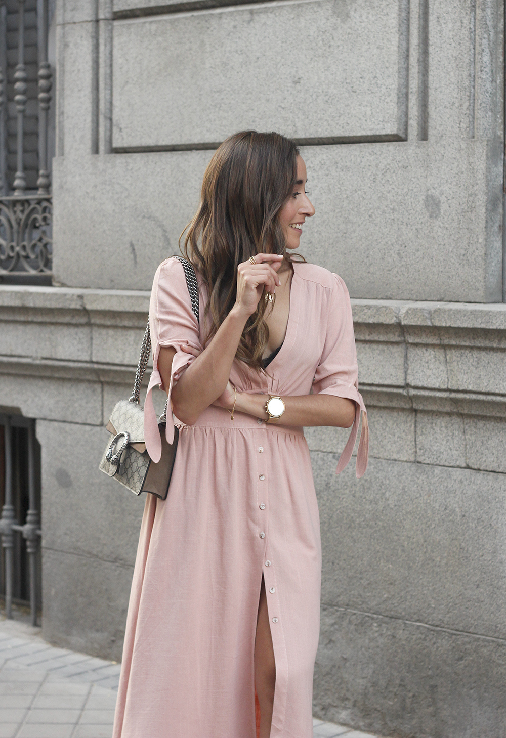 pink midi dress mules gucci bag outfit street style 201812