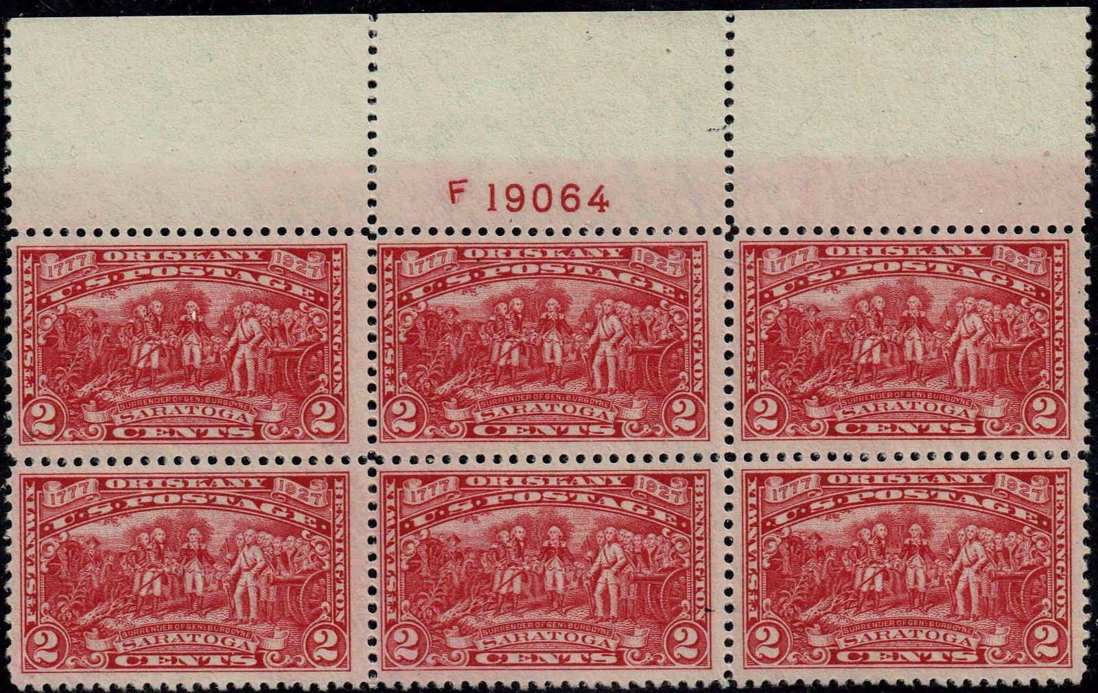 United States - Scott #644 (1927) plate block of six with the plate number from the top margin of the sheet