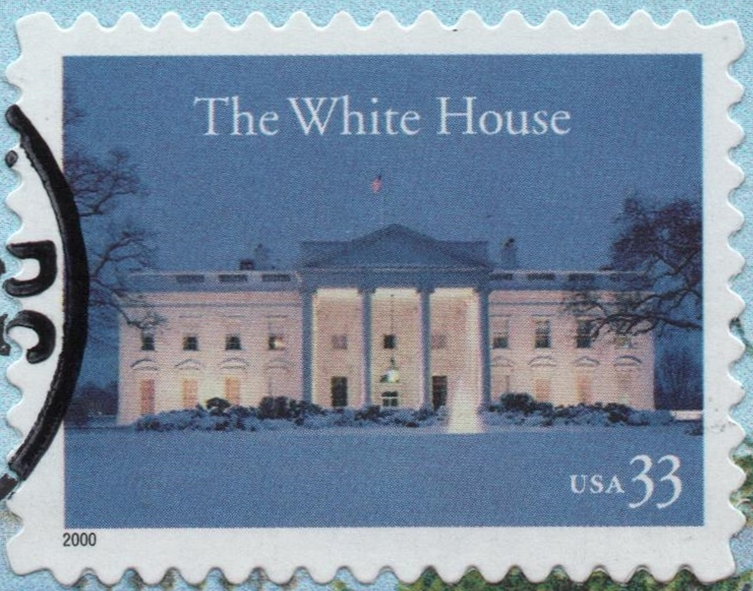 United States - Scott #3445 (2000) - A 33-cent stamp issued by the United States Postal Service on October 18, 2000, to mark the bicentennial of the White House in Washington, D.C. It was printed by Ashton-Potter (USA) Ltd. using lithography in a quantity of 125,000,000. The self-adhesive stamp has serpentine die-cut perforations in a gauge of 11¾.