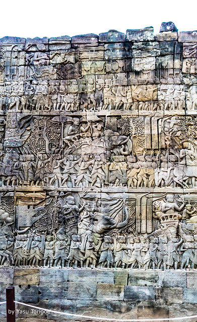 Bas-Relief of Stories of Cambodia at Bayon Temple, Angkor, Cambodia-37a