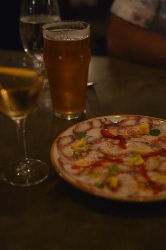 drinks & octopus carpaccio