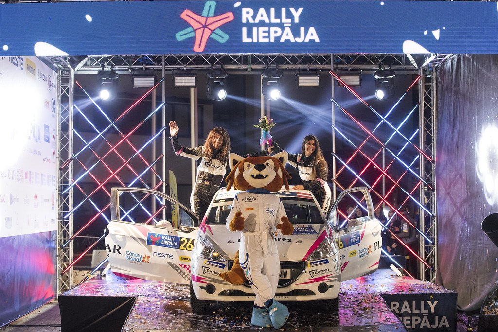 26 FALCON Emma , (ESP), Eduardo GONZALEZ, (ESP), Peugeot 208 R2, podium ambiance during the 2018 European Rally Championship ERC Liepaja rally,  from october 12 to 14, at Liepaja, Lettonie - Photo Gregory Lenormand / DPPI