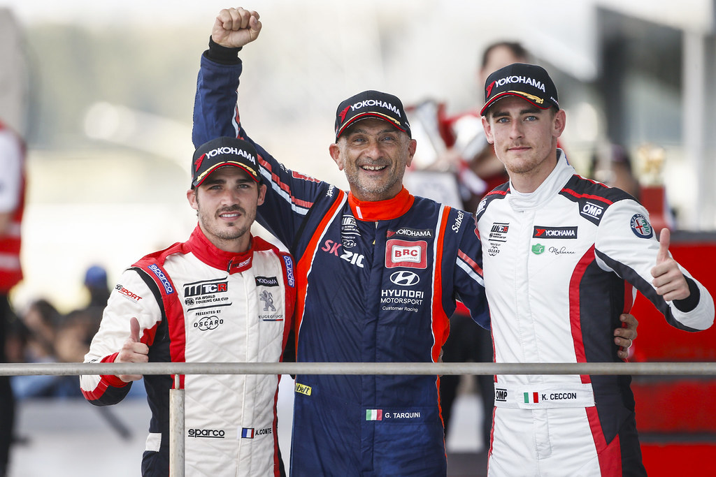 COMTE Aurelien, (fra),  eugeot 308 TCR team DG Sport Competition, portrait TARQUINI Gabriele, (ita), Hyundai i30 N TCR team BRC Racing, portrait CECCON Kevin (ITA), Alfa Romeo Giulietta TCR, Mulsanne Srl, portrait podium ambiance during the 2018 FIA WTCR World Touring Car cup of Japan, at Suzuka from october 26 to 28 - Photo Francois Flamand / DPPI