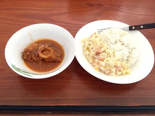 Dominican pork with rice & potato salad / Dominikanisches Schweinefleisch mit Reis & Kartoffelsalat