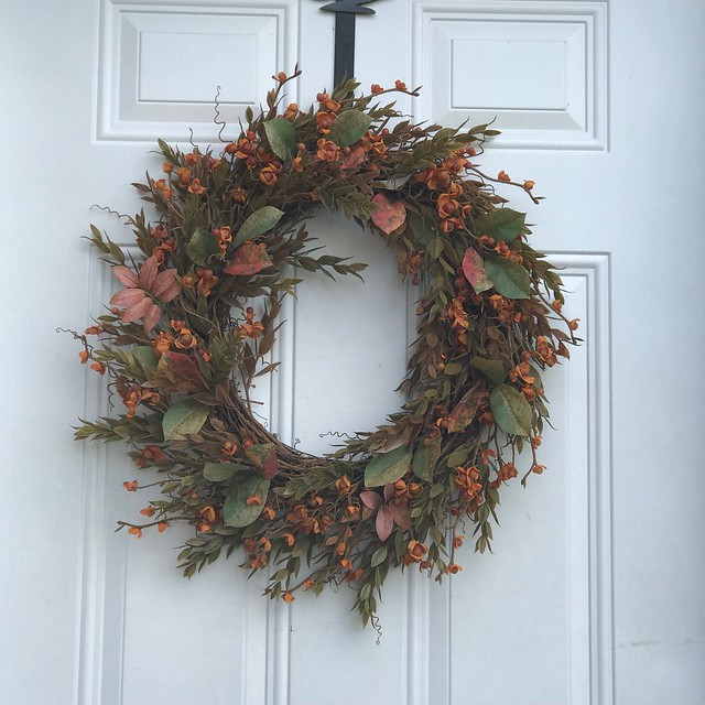 My fall wreath is ancient but can still grace my front door!