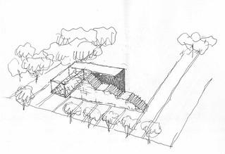 La bozza del momunento esterno realizzata dai  progettisti PROAP di Lisbona