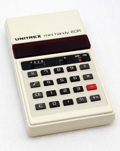 Vintage Unitrex Mini Handy 80R Electronic Pocket Calculator, Eiko Business Machine Company, Made In Japan, Circa 1974