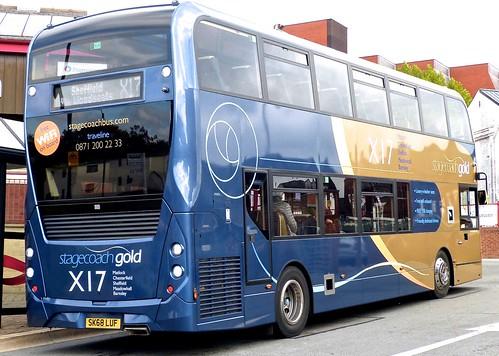 SK68 LUF 'Yorkshire Traction' No. 11118, 'stagecoachgold  X17'. Alexander Dennis Ltd. (ADL) E40D / 'ADL' Enviro 400MMC /2 on Dennis Basford's railsroadsrunways.blogspot.co.uk'