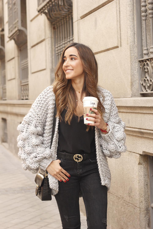 Grey cardigan black jeans folli folie watch leopard print heels starbucks tea street style fall outfit 201806