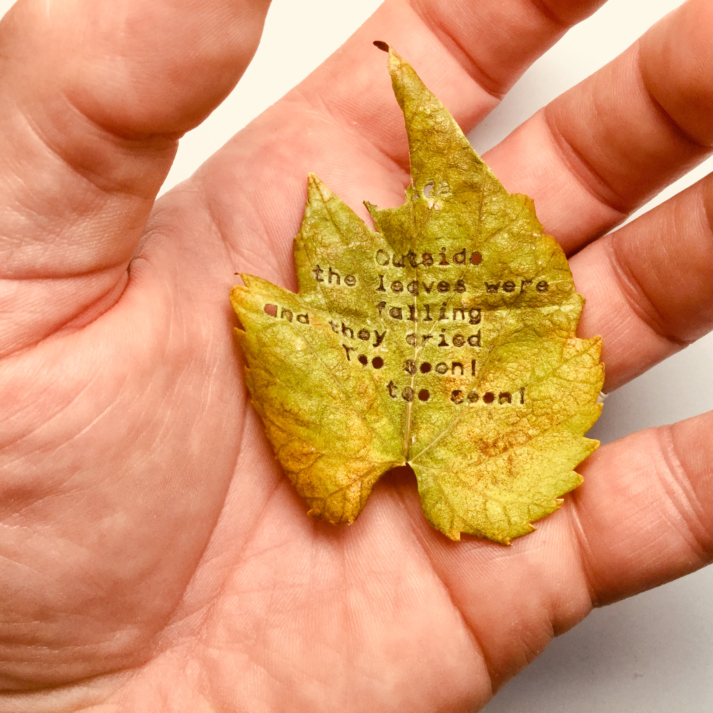 Leaf Typing, Royal QDL, Excerpt from Ferlinghetti's Poem The Pennycandystore Beyond the El