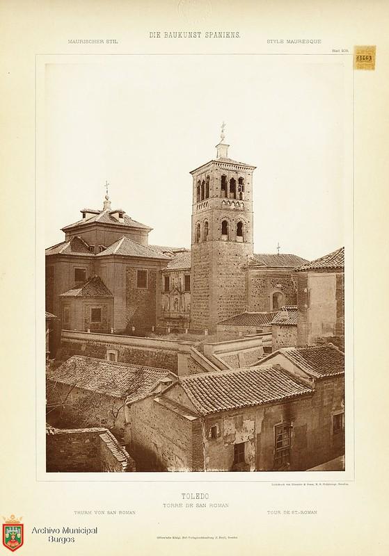 """Torre de San Román hacia 1887. De la obra """"Die Baukunst Spaniens in ihren hervorragendsten werken"""", de Max Junghaendel. Archivo Municipal, Ayuntamiento de Burgos."""