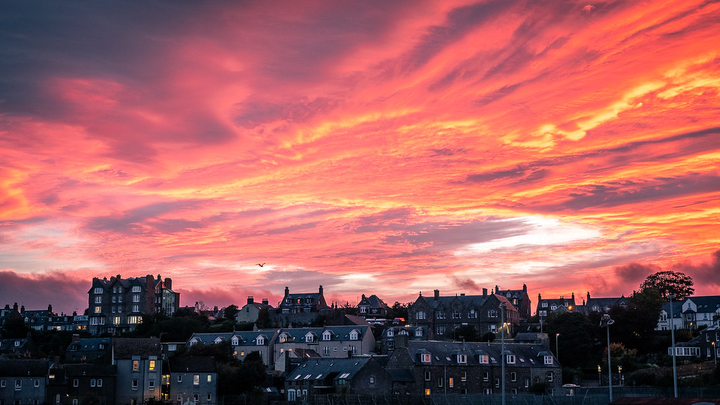 Sunset over Stonehaven, Scotland picture