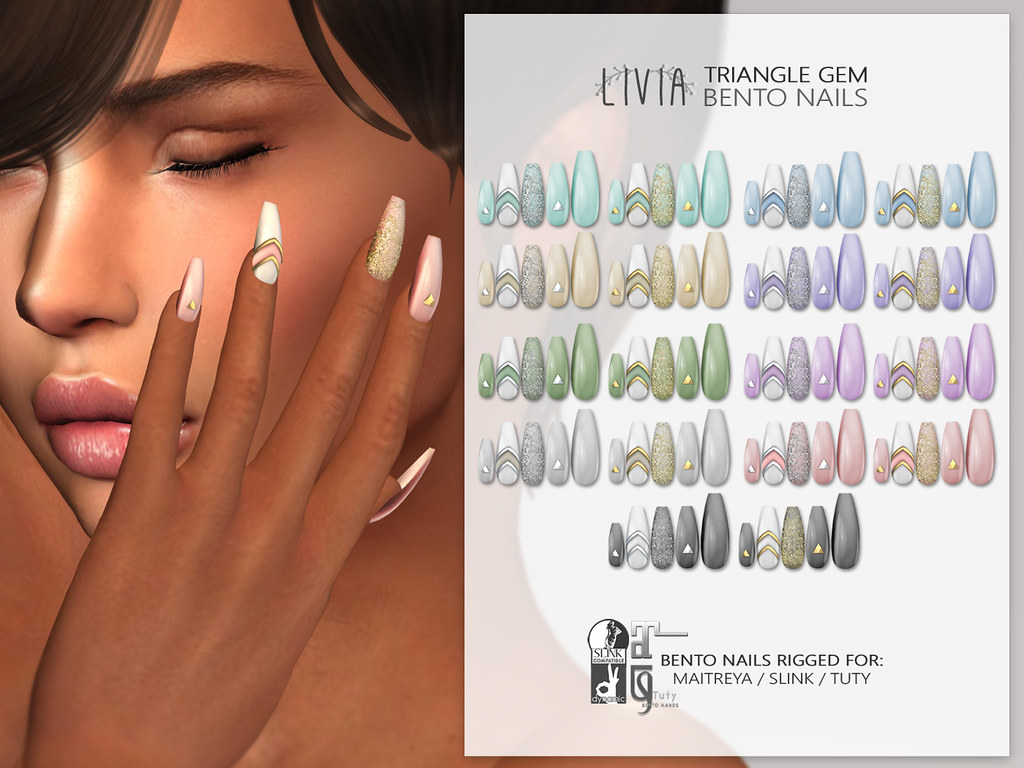 LIVIA // Triangle Gem Mesh Nails (Bento)