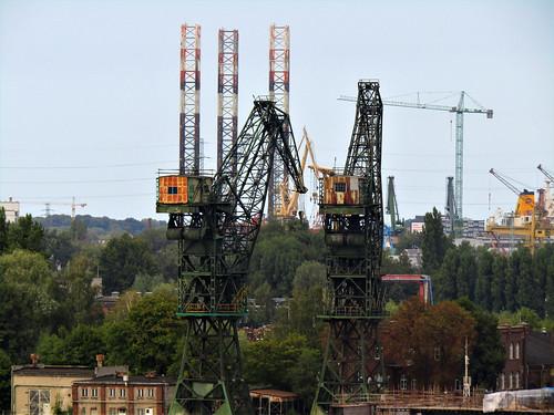view of old cranes at Gdansk Shipyard