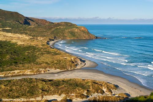 beach farmland otagopeninsular sandflybay southisland water coast easternotagopeninsular landscape largesanddunes maramgrass remote