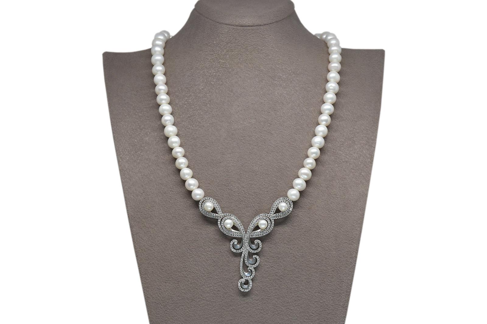 - Ahsen 925K Gümüş Klipsli Doğal Beyaz inci Kolye AH-00104