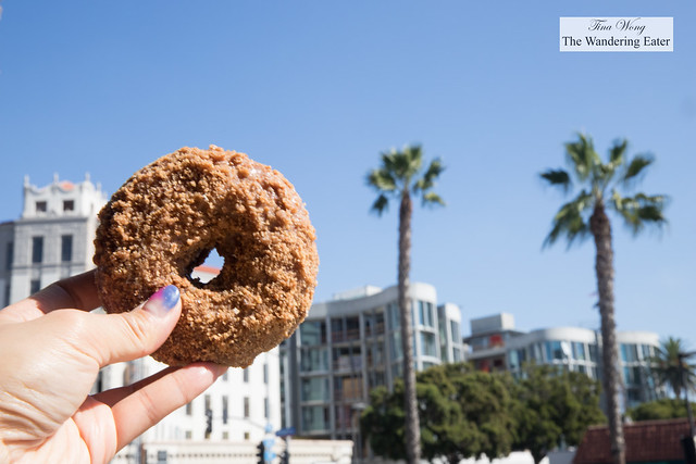 Saigon Cinnamon Crumb Doughnut with a view of Wilshire Blvd