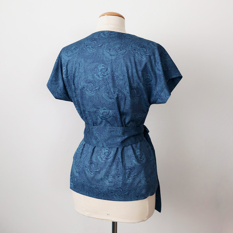 teal cotton wrap top back