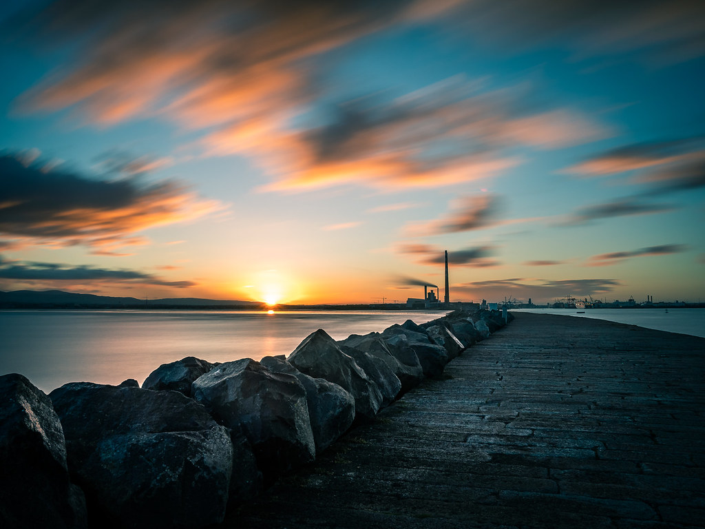 Sunset in Poolbeg, Dublin, Ireland picture