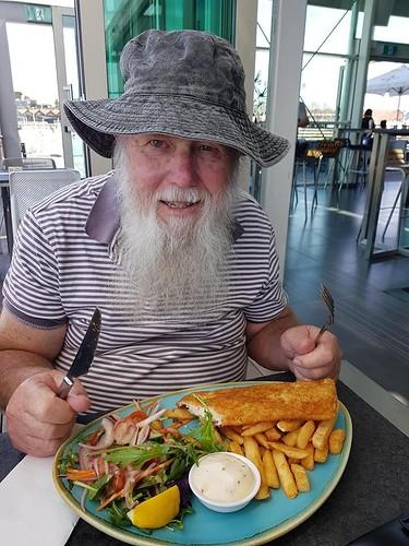 Paul Weaver tucking into fish 'n chips 22 September 2018