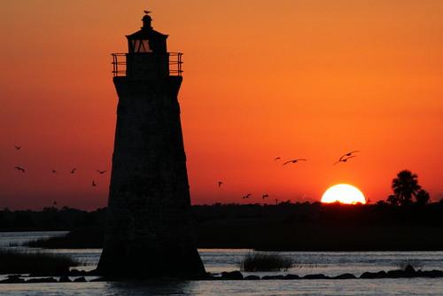 Cockspur Island Lighthouse at Sunset