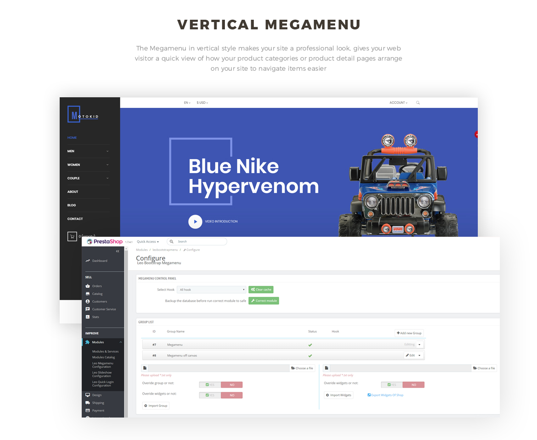 vertical mege menu