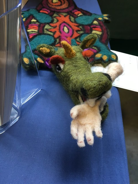 Needle-felted dragon mat