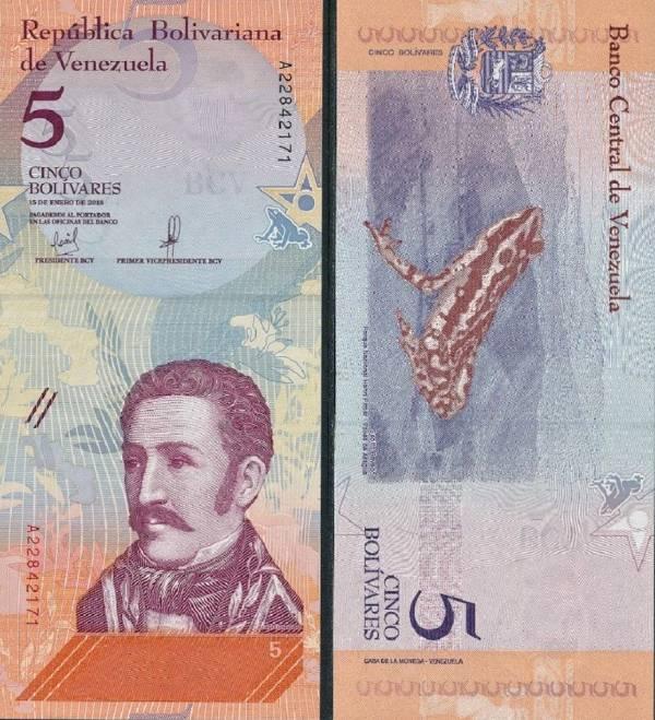 5 Bolívares Venezuela 2018, P102a