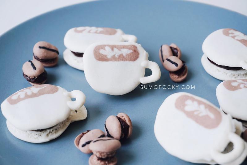 cafe latte coffee macaron