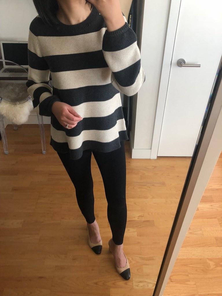 LOFT Striped Swingy Sweater, size XXS regular