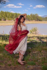 Full Length Shot of Elora with Red Fabric