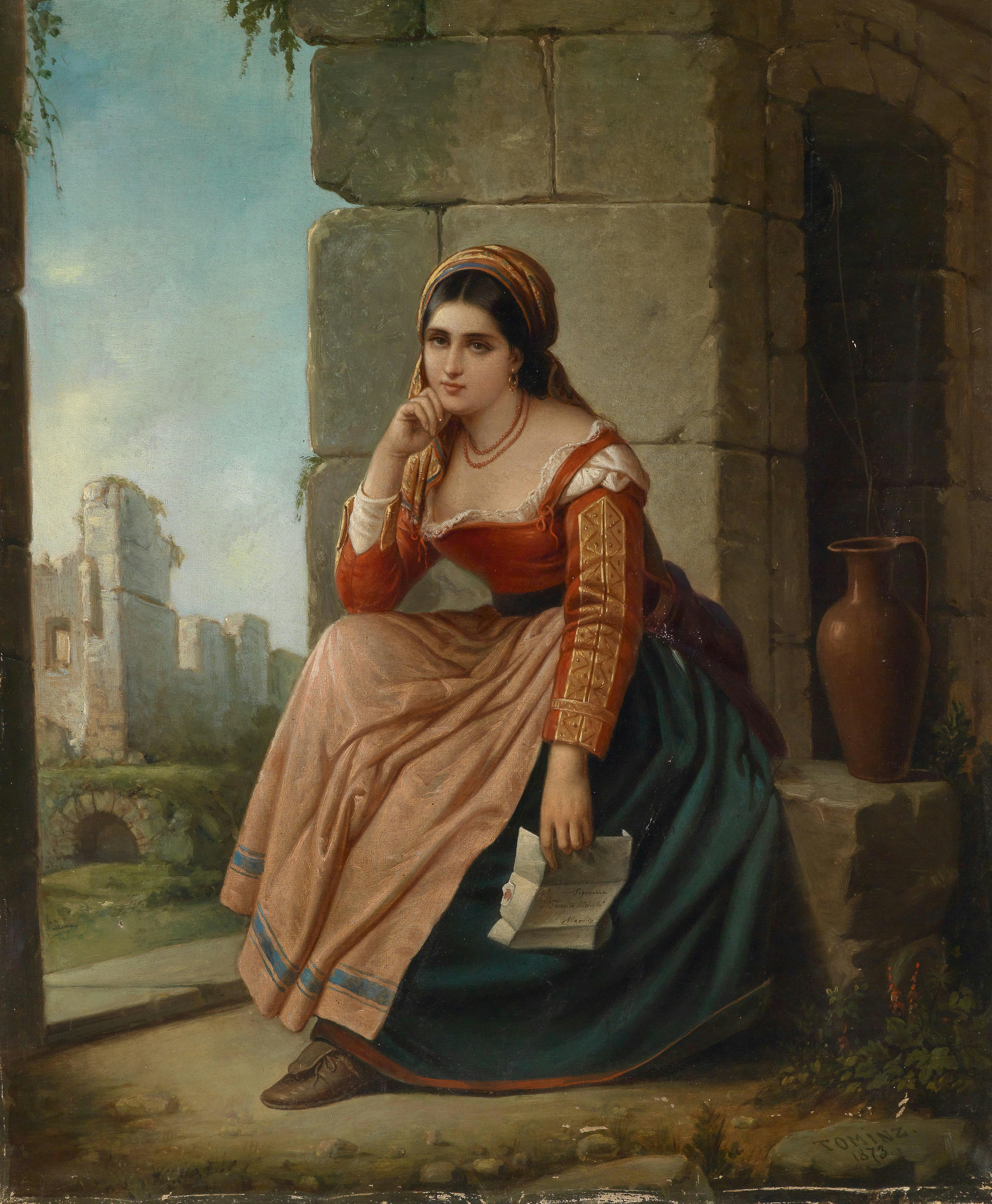 The Letter, oil on canvas painting attributed to Augusto Tominz (1818–1883) - date and signature at bottom right: TOMINZ 1873.