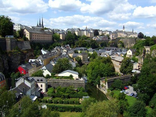 view of houses and river in Luxembourg Grund