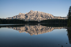 Mount Rundle seen from Two Jack Lake, sunrise