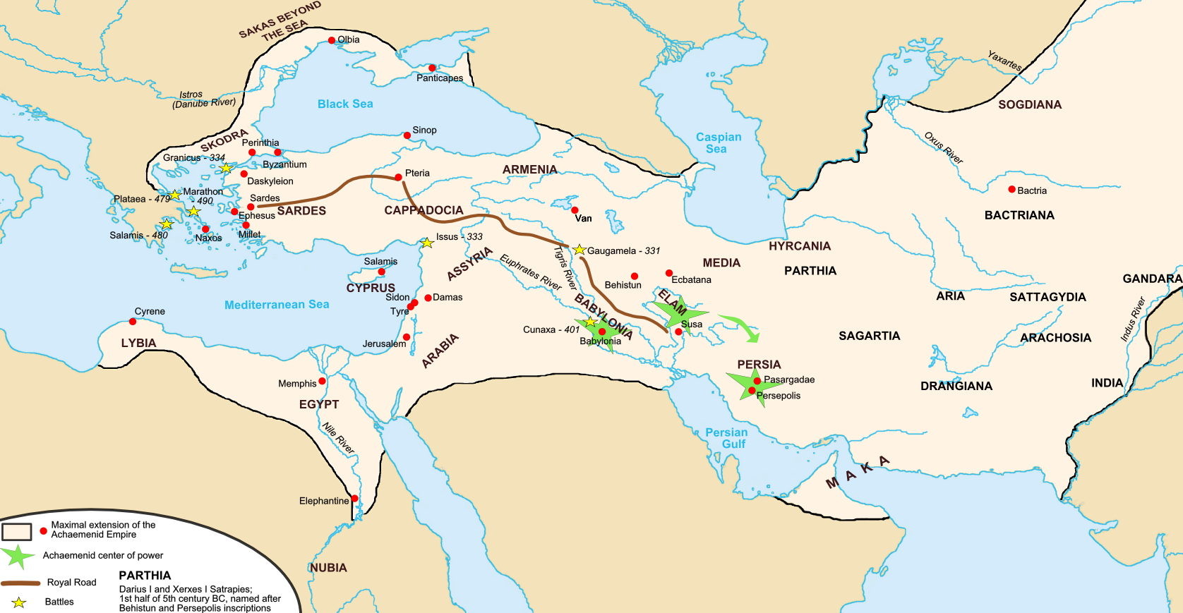 The map of Achaemenid Empire and the section of the Royal Road noted by Herodotus