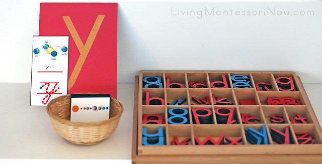 Letter y Year Font Card with Sandpaper Letter and Movable Alphabets