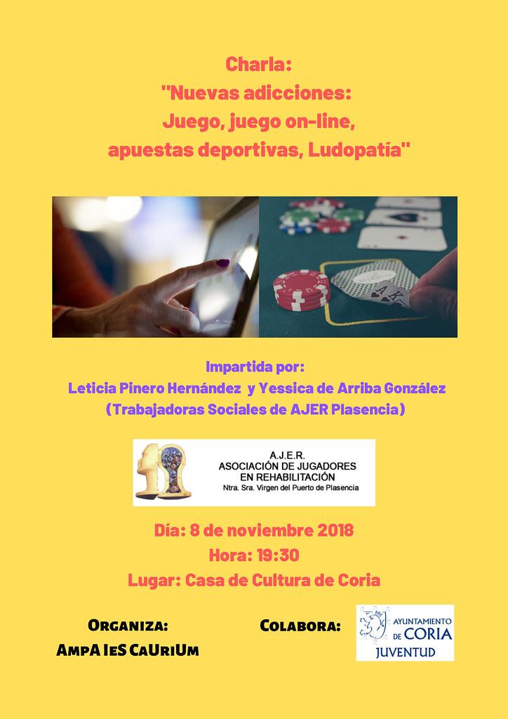 """La Charla """"Nuevas adicciones: juego, juego on-line, apuestas deportivas y ludopatía"""" tendrá lugar este jueves día 8 en Coria"""
