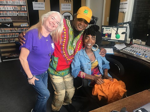 Dianna Thompson, Action Jackson, and Cole Williams dream team at WWOZ - 10.23.18. Photo by Carrie Booher.