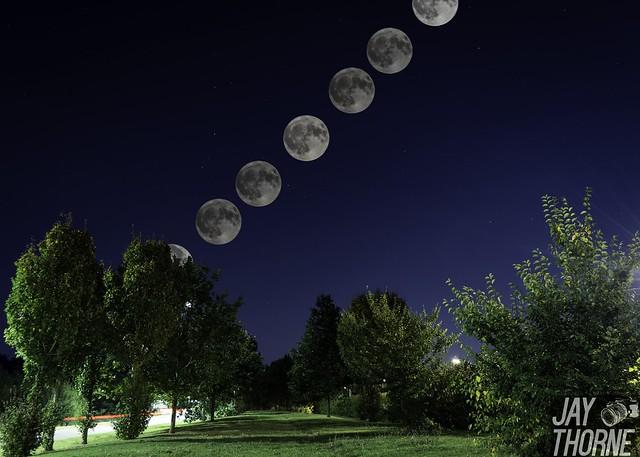 Autumn equinox full moon over Milton Keynes