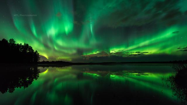 Green auroras above lake