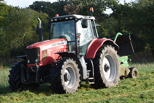 Massey Ferguson 6490 Dyna 6 Tractor with a John Deere 1365 Mower Conditioner