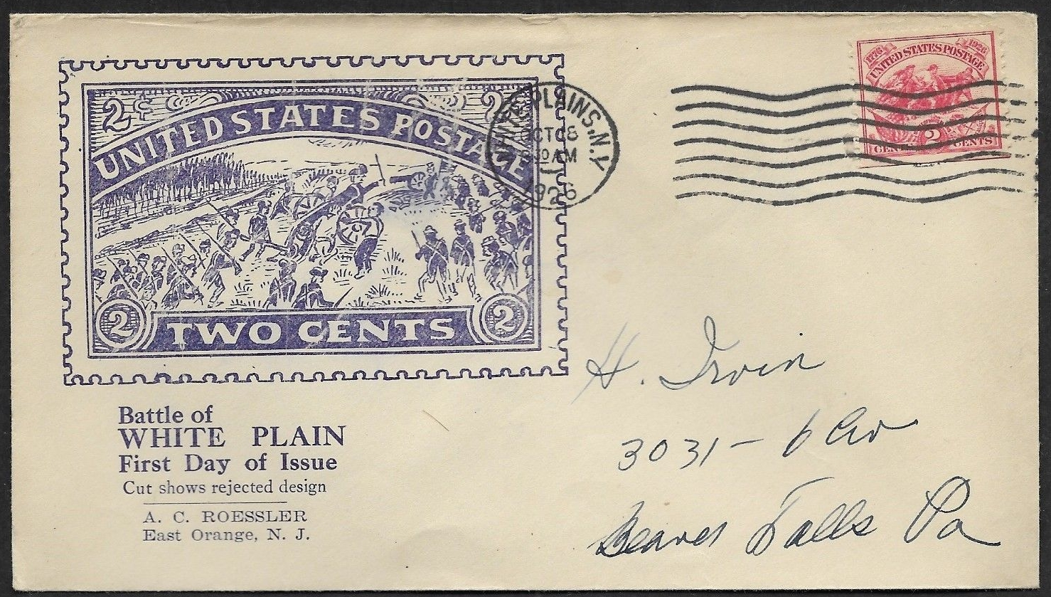 United States - Scott #629 (1926) first day cover with White Plains cancellation; Roessler cachet featuring one of the rejected designs; Roessler came under scrutiny by the USPOD around this time for such stamp-like cachets.