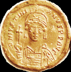 Justinian I Gold Solidus obverse