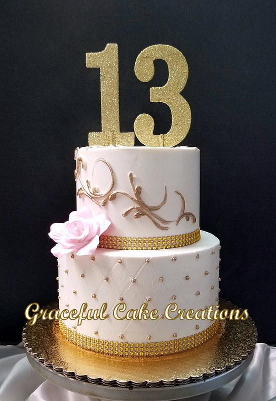 Gold And Blush Pink 13th Birthday Cake