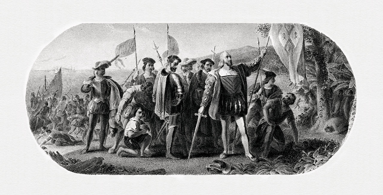 Landing of Columbus, engraved by the BEP based on Vanderlyn's 1847 painting. This vignette was used as the back of the Series 1875 $5 National Bank Note.
