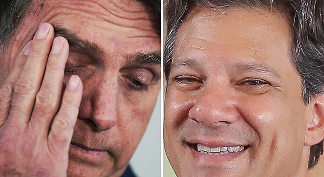Three days to vote, poll shows Workers' Party presidential candidate narrowing far-right Bolsonaro's (left) lead - Créditos: Collage