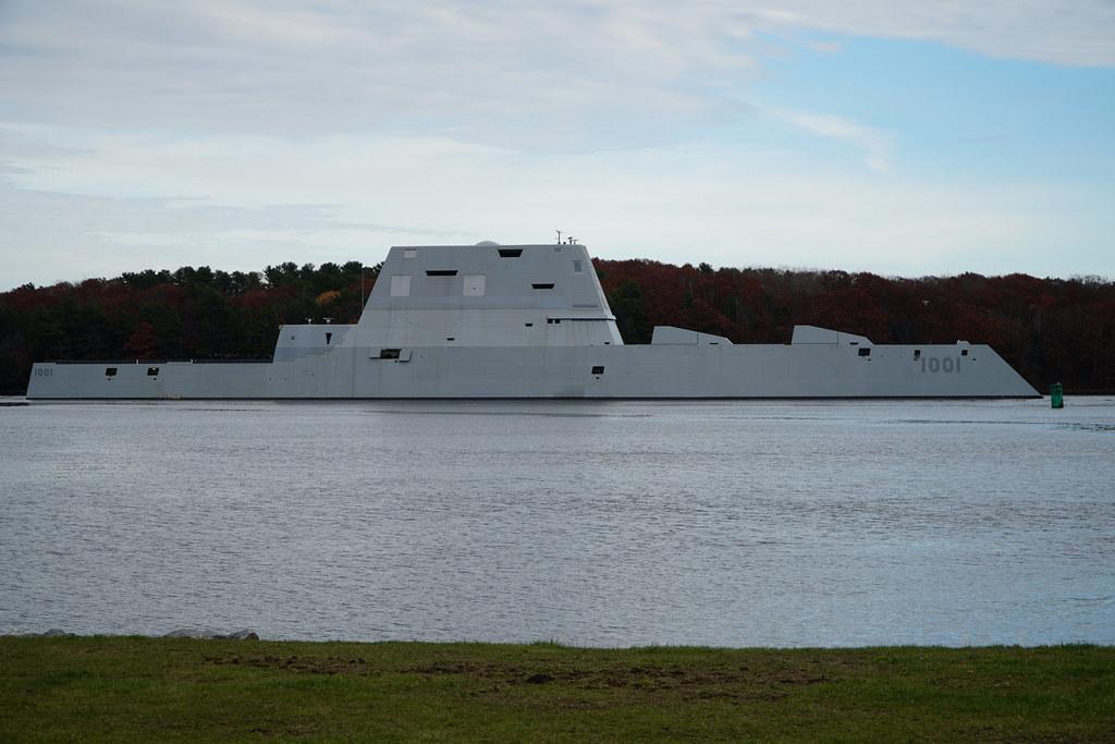 USS Michael Monsoor departs the Bath Iron Works shipyard.