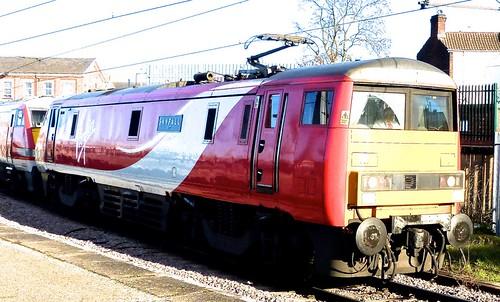 Class 91 'Virgin East Coast' No. 91107. 'Skyfall'. Electric locomotive built at 'BREL', Crewe on 'Dennis Basford's railsroadsrunways.blogspot.co.uk'