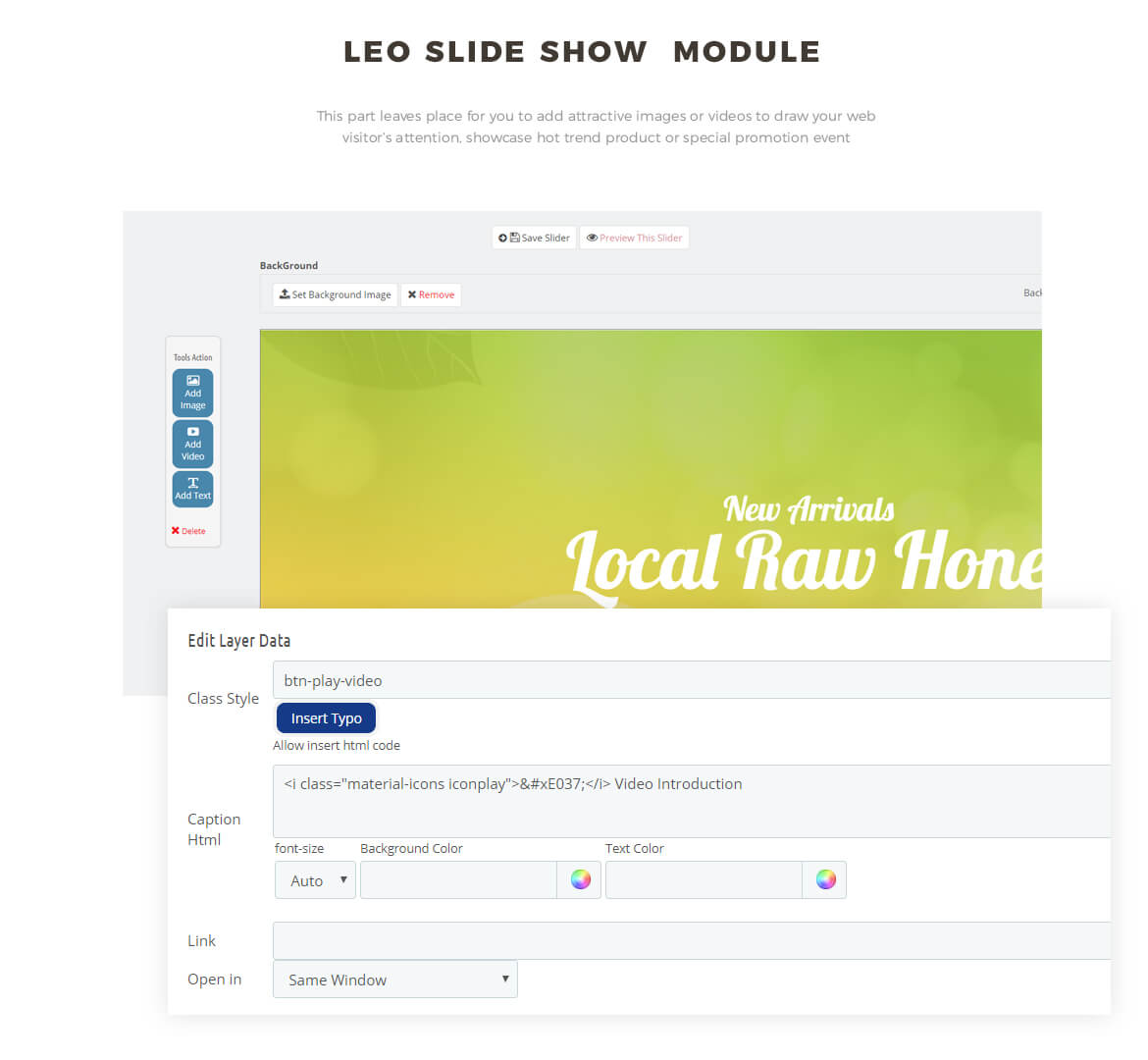 slideshow module - Bos Ocbee prestashop 1.7 theme - honey, food, beauty store