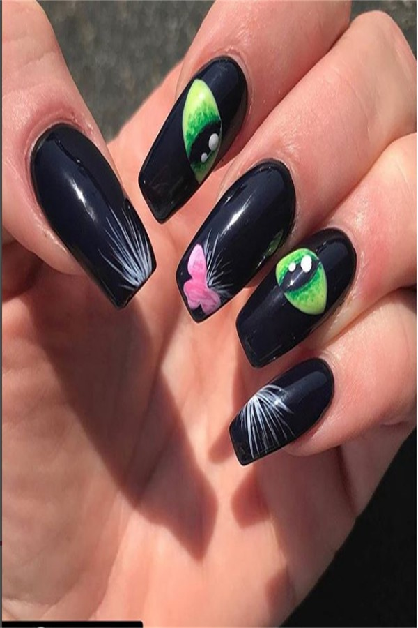 Modern Black Cat Nail Art Designs Ideas #fashonails #black_cat_nails #halloween_nails